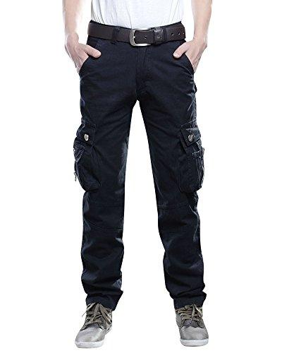 Cargohose Herren Arbeitshose Stretch Cargo Pants Loose Casual Mit Mehrere Tasche Schwarz 32