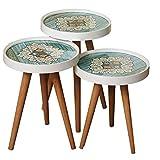 Dekor Point Beistelltisch Couchtisch Nierentisch Kaffeetisch Satztisch Tablett Glas Modell Mosaik Retro 3'er Set …