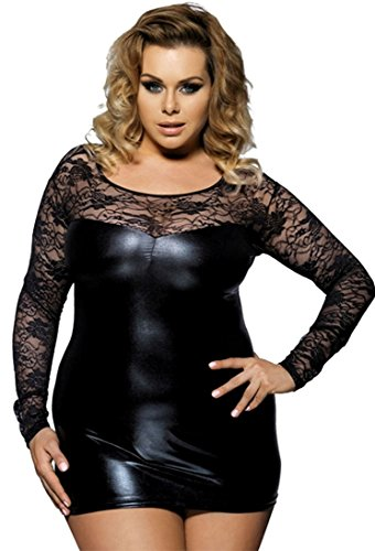 marysgift Damen Mini-Kleid Wetlook Party-Dress Kunstleder Schwarz Latex Dessous große größen ()