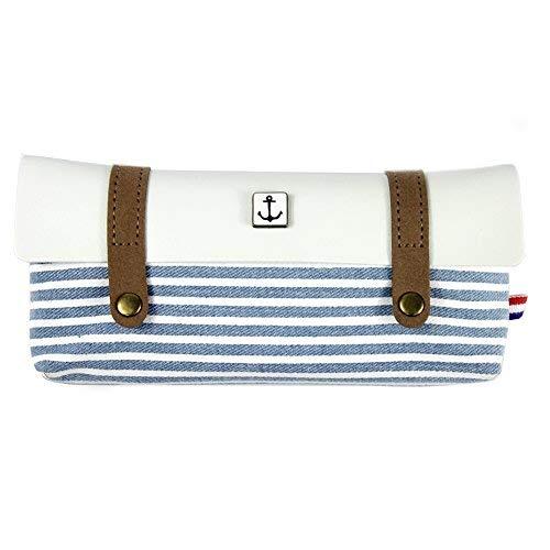 Cineen astuccio portamatite, stile vintage marinaio, a righe, in tela di lino light blue