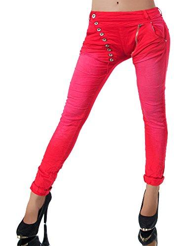 Damen Jeans Hose Boyfriend Damenjeans Harem Baggy Chino Haremshose L368, Größen:42 (XL), Farben:Rot Baggy Boyfriend Jeans