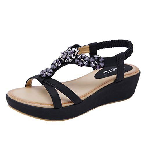 Masoness Summer Women Popular Bohemian Lovely Crystal Flower Criss Cross Striped Belt Comfy Wedge Sandals Criss Cross Wedge Sandal
