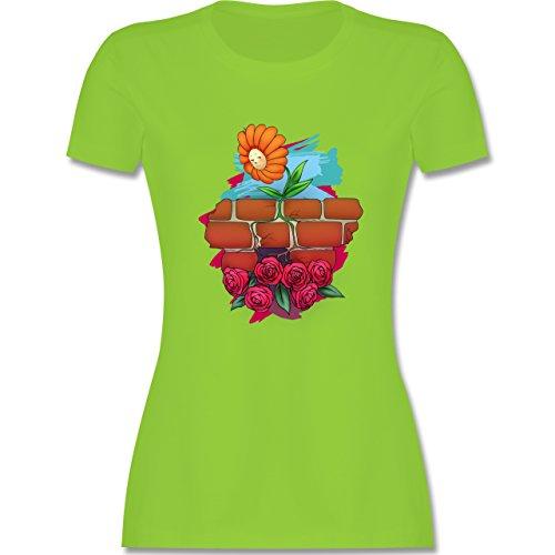 Statement Shirts - Mauerblümchen - tailliertes Premium T-Shirt mit Rundhalsausschnitt für Damen Hellgrün