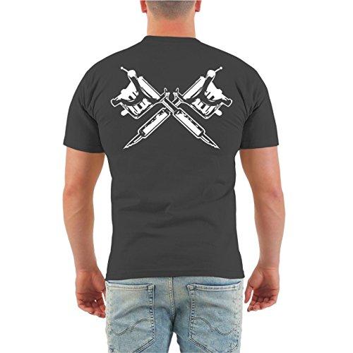 Männer und Herren T-Shirt Ich war schon tätowiert als es COOL war (mit Rückendruck) Größe S - 8XL Körperbetont grau