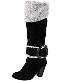 Aisun Damen Brogue Perforiert Plateau Blockabsatz Kurzschaft Sport Freizeit Martin Boots Stiefel Rot 34 EU