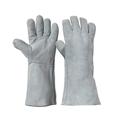 BHDYHM Extrem hitzebeständige feuerfeste Lederhandschuhe mit Nähten, Handschuhe perfekt für Kamin, Herd, Ofen, Grill,