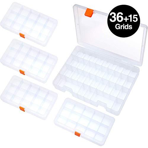SOMELINE Sortierboxen Einstellbar Sortimentskasten für Kleinteile Perlen Ohrringe Plastik Schmuckkasten Aufbewahrungsboxen(5 Stck)