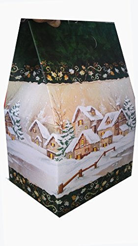 Scatola per regali di natale in cartone robusto pieghevole a forma di casetta. ideale per pacchi natalizi, cesti, ecc. dimensioni del vano di carico: 27x21,5x21. altezza totale fuori tutto 41cm.