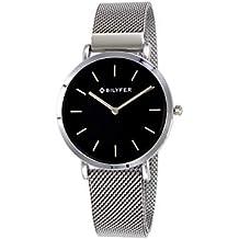 Reloj Bilyfer para Mujer con Correa Plateada y Pantalla en Negro 3P556-PL