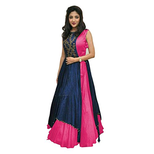 Anarkali suits (KESU Fashion Women\'s Printed un-stitched Salwar Suit\\dress Material without dupatta In Banglori Fabric (KUMD1005-B) Pink