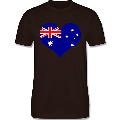 Länder - Herz Australien - Herren Premium T-Shirt Braun