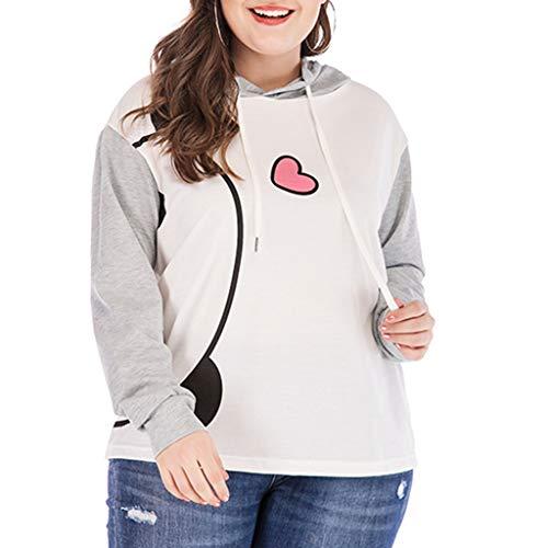 Pullover Damen Kapuzenpullover Top Xjp Kapuzenpullis Frauen Plus Size Print Langarm Hooded Oberteile Causal Hoodie Pullover Für Damen(Grau,XXXXXL)