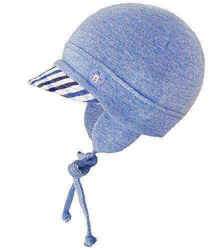 Freundliche Sonnenschutz (Fiebig Babymütze Jungenmütze Bindemütze Jerseymütze Schirmmütze Sommermütze Freizeitmütze Strandmütze für Babys (FI-87682-S17-BJ0-25-53) in Jeansblau, Größe 53 inkl. EveryHead-Hutfibel)