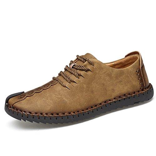 Zapatos de cuero casual de los hombres Zapatos Planos con Cordones hombre Oxford vestido mocasines zapatos de negocios hechos a mano mocasines de conducción de zapatos Caqui 43EU