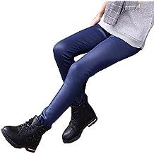 Niña En Mallas Leggings Pu Cuero Artificial Elástico Pantalones Plus Espesamiento Leggins Armada 140CM