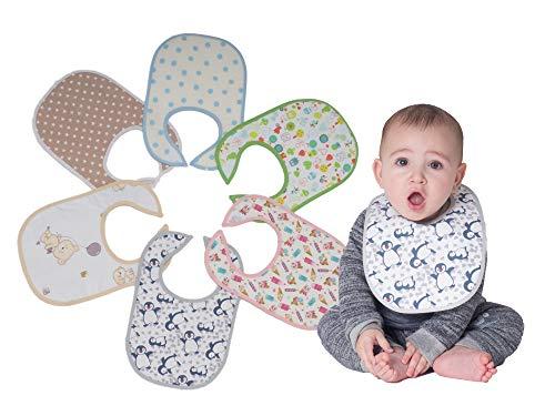 Ti TIN Pack 8 Baberos Estampados Impermeables Bebé