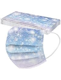 Weihnachten Erwachsene Einweg Mundschutz Mehrfarbig Print Mund und Nasenschutz Staubschutz Atmungsaktive Gesichtsschutz Bandana Loop Halstuch für Erwachsene 10 pcs