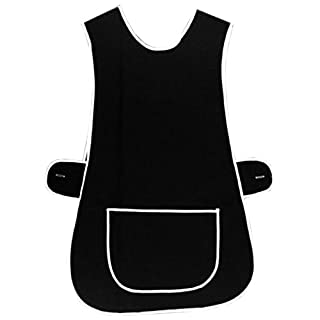 MyShoeStore® LADIES WOMENS TABARD HOME WORK KITCHEN CLEANING CHEF CATERING CLEANERS WORKWEAR POLY COTTON OVERALL WHITE PIPING EDGE TABBARD APRON WITH LARGE POCKET SIDE BUTTON FASTENING PLUS BIG SIZE by MYSHOESTORE