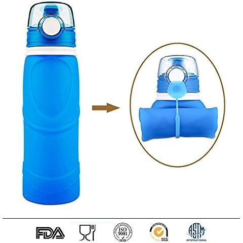 Pieghevole della bottiglia di acqua, BPA libero riutilizzabile in silicone pieghevole della prova della perdita Ultra-leggero bottiglia di acqua di sport, viaggi bere Carrier per Running, campeggio, trekking, yoga, ginnastica e attività all'aperto (blu trasparente, 750ML / 25OZ, FDA ha certificato)