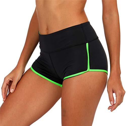 ZingineW Damen Sport Yoga Shorts, Kurze Hose für Pilates, Fitnessstudio, Laufen, Workout, Hot Pants, Booty Shorts - schwarz - Klein - Booty Shorts