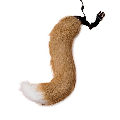 VLUNT Halloween Kostüme Kunstpelz Fuchsschwanz kann Schwanz eingestellt Werden (Fox Tail Kostüm Zubehör)