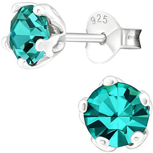 EYS JEWELRY Damen-Ohrstecker rund 925 Sterling Silber Glitzer-Kristall Zirkon-blau 5 mm Damen-Ohrringe im Schmuck-Etui (Zirkonia Ohrstecker Blau)