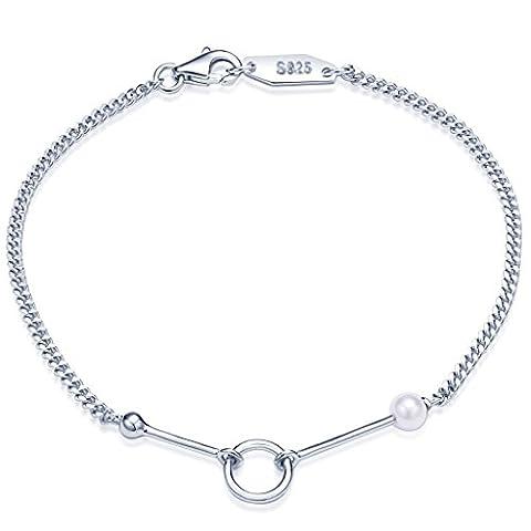 Unendlich U Fashion Damen Armband 925 Sterling Silber 4mm Perle Armkette Ring Kreis Charm-Armband Armkettchen Armreif, Silber