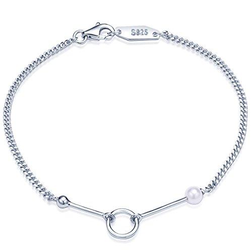 Infinite U Simple para mujer Pearl Pulsera Barra de plata de ley 925Bead anillo encanto 16cm enlace Cadena, Plata