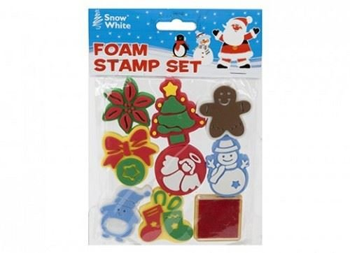 new-christmas-foam-stamp-set-7-shapes-ink-pad-stamping-santa-tree-snowflake-pms