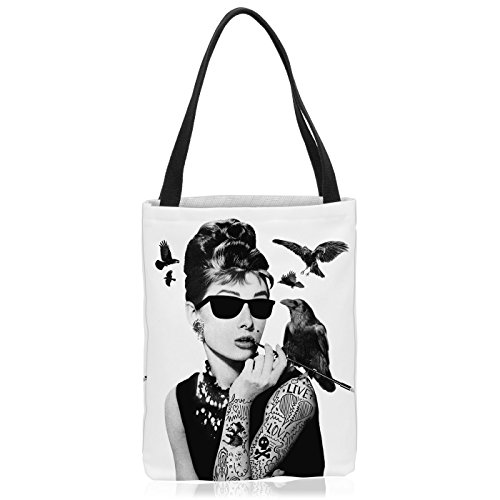VOID Audrey Tattoo Tasche Einkaufs-Beutel Polyester Shopper Einkaufs-Tasche Bag Hollywood Film Hepburn Star, Polyestertasche Größe:Large Los Angeles-holly