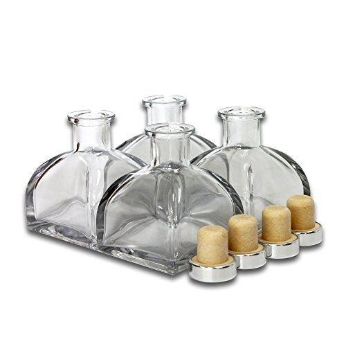 Frandy House Glas-Diffusor-Flaschen mit Korkdeckel, 8,9 cm hoch, 150 ml, 4er Set Duft-Zubehör, für DIY-Diffusor-Sets mit Rattanstäbchen (nicht im Lieferumfang enthalten) - Glas-reed-duft-diffusor