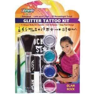 Glitter Tattoo Kits - Glam Rock W/ Glitters And Glue - Great For The Beach, Pool Parties & Much More Jouets, Jeux, Enfant, Peu, Nourrisson