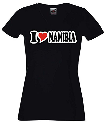 T-Shirt I Love Heart Damen V-Ausschnitt I LOVE NAMIBIA Schwarz