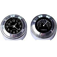 Maso 2 piezas 7/8 pulgadas motocicleta manillar reloj y termómetro universal impermeable motocicleta manillar reloj (negro)