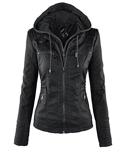 Femme Fille Mode Bomber Blousons En Simili Cuir Fermeture Éclair Motard Hooded Tops Manteau à Capuche Court Moto Veste Jacket