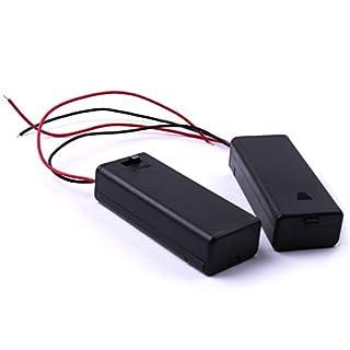 ATOPLEE 2 Stück Anschlussleitungen Batteriehalter mit Schaltern und Abdeckung für 2 AAA-Batterie