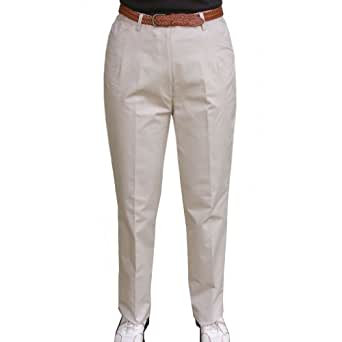PJ's Ladies Flat Front Cotton Golf Trousers in Stone size 10