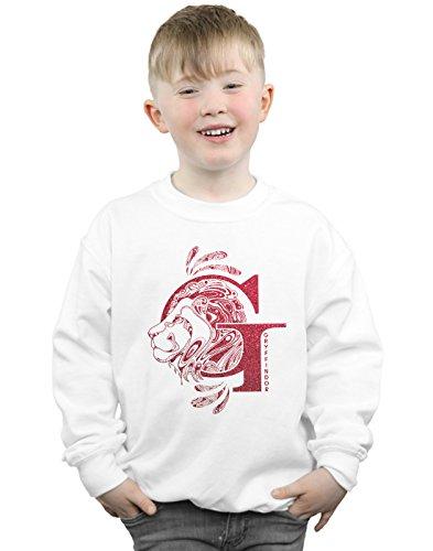 Harry Potter Jungen Gryffindor Glitter Sweatshirt Weiß 12-13 Years - Herren Sweatshirt Glitter