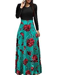 Sylar Vestidos Invierno Mujer Moda Estampado Rose Cuello Redondo Costura Manga Larga Casual Suelto Falda Larga