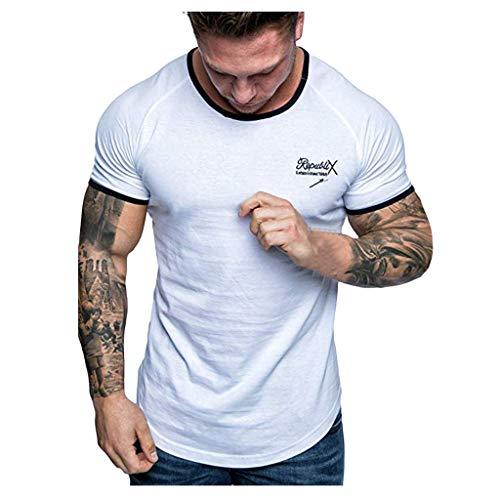 DEELIN Sommer Herren Casual Brief Gedruckt Mit Kapuze Stitching Kurzarm T-Shirt Top Bluse ()