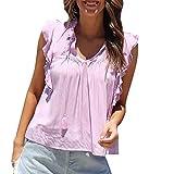 IZZB Damen Bluse Tanktops Weste Damen Top Oberteil Sommer Hemd Lässige Kleidung Rüschen Ärmellose Weste Cami T-Shirt (Rosa, XL)