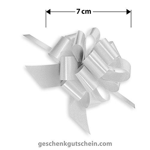 25 Stk. Silberfarbene Satin-Schleifen für Päckchen, Geschenke, Kuverts, Billets ZB03 - LIEFERZEIT 2 bis 4 Werktage !