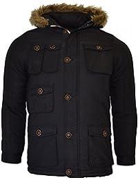 Boys Brave Soul 'Cobra' Parka Hooded School Jacket Coat Kids Black Navy Jacket
