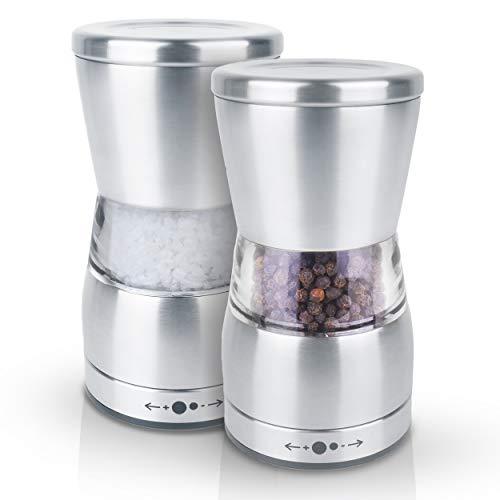 Y&Y Onlineshop Salz und Pfeffermühle Set von KRONENKRAFT, Salzmühlen & Pfeffermühlen aus Glas und rostfreiem Stahl mit verstellbarem Keramikmahlwerk Edelstahl Gewürzmühle für Gewürze, Pfeffer