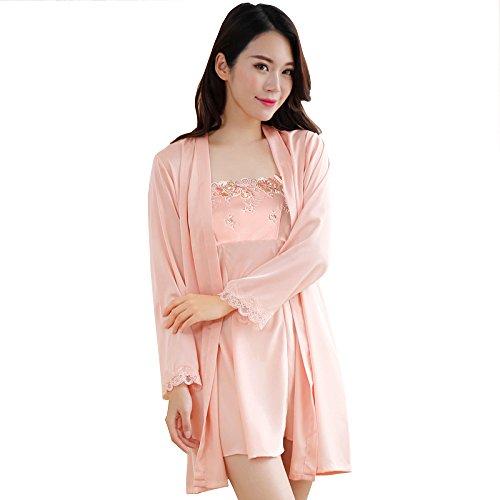 Silk Pyjama Frauen Satin Robe Kimono Volltonfarbe Kleid,L-ShrimpPink (Intimo Schlaf-hose)