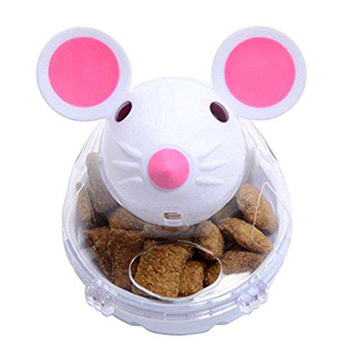 Mein Ji Haustier IQ Treat Interaktiver Futterball Slow Spender Feeder Katze Mahlzeit Glas Katze Snack Spender Design Rata (weiß)