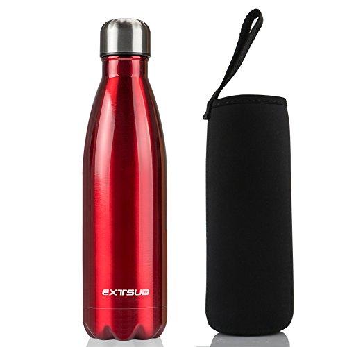EXTSUD 500ml Bottiglia Termica in Acciaio Inox Borraccia Termos Mantiene 24 Ore Freddo 12 Ore Caldo Chiusura Ermetica Senza BPA Bottiglietta Sottovuoto per Outdoor Inverno/Estate (Rosso)