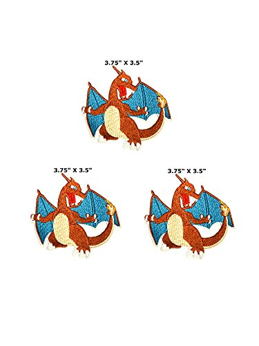 Charizard Pokemon – 3 Pack – 9,5 x 8,9 cm Anime Manga Logo Thema Cosplay gesticktes Eisen/aufgesetzte Patch Badge DIY ()