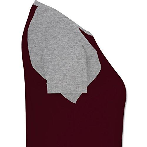 Shirtracer Länder - Australien Stern - Zweifarbiges Baseballshirt/Raglan T-Shirt für Damen Burgundrot/Grau meliert