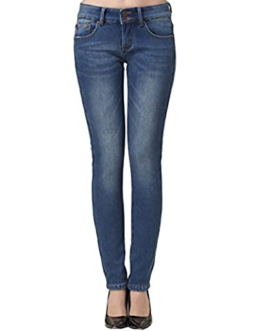 Camii Mia Damen Slim Fit Flanell Gefüttert Skinny Jean (W29, Blau (827-4))